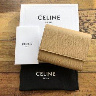 新品 CELINE セリーヌ レザー 三つ折り財布 NUDE