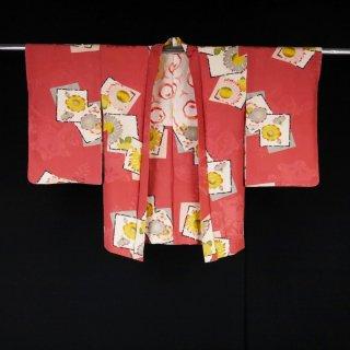 アンティーク羽織 色紙紋にふんわりお花