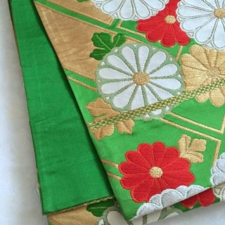 緑地に菊のアンティーク袋帯