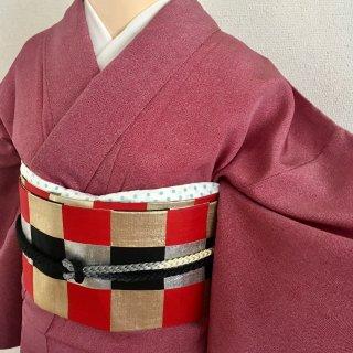赤紫の江戸小紋