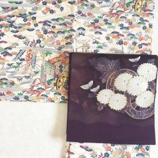 菊に源氏車の袋帯
