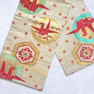 折り鶴のアンティーク六寸帯