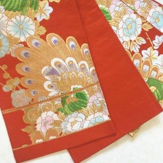孔雀の織出しアンティーク袋帯