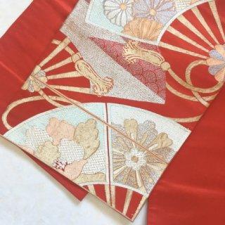 扇模様のアンティーク袋帯