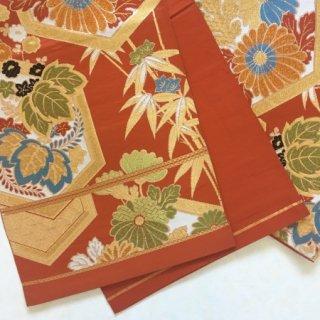 亀甲に菊・桐模様のアンティーク袋帯