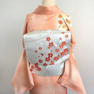 シルバーに紅梅の袋帯