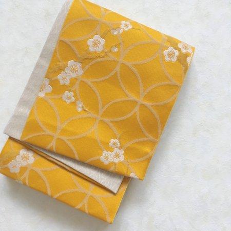 【新品】梅に七宝文様 山吹色のリバーシブル半幅帯