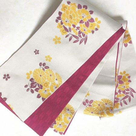 【新品】花と矢絣柄のリバーシブル半幅帯