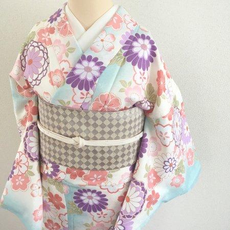 菊と桜に水色のぼかし小紋【ポリエステル・袷】