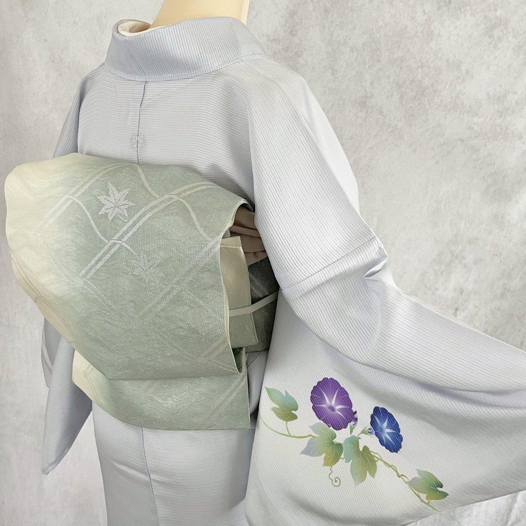 紗・屋根瓦に楓の袋帯