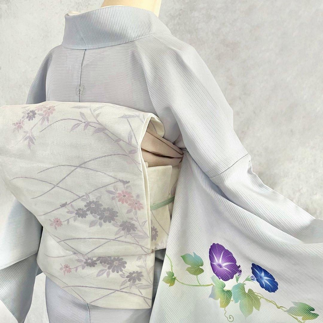 紗・花模様の織り出し袋帯