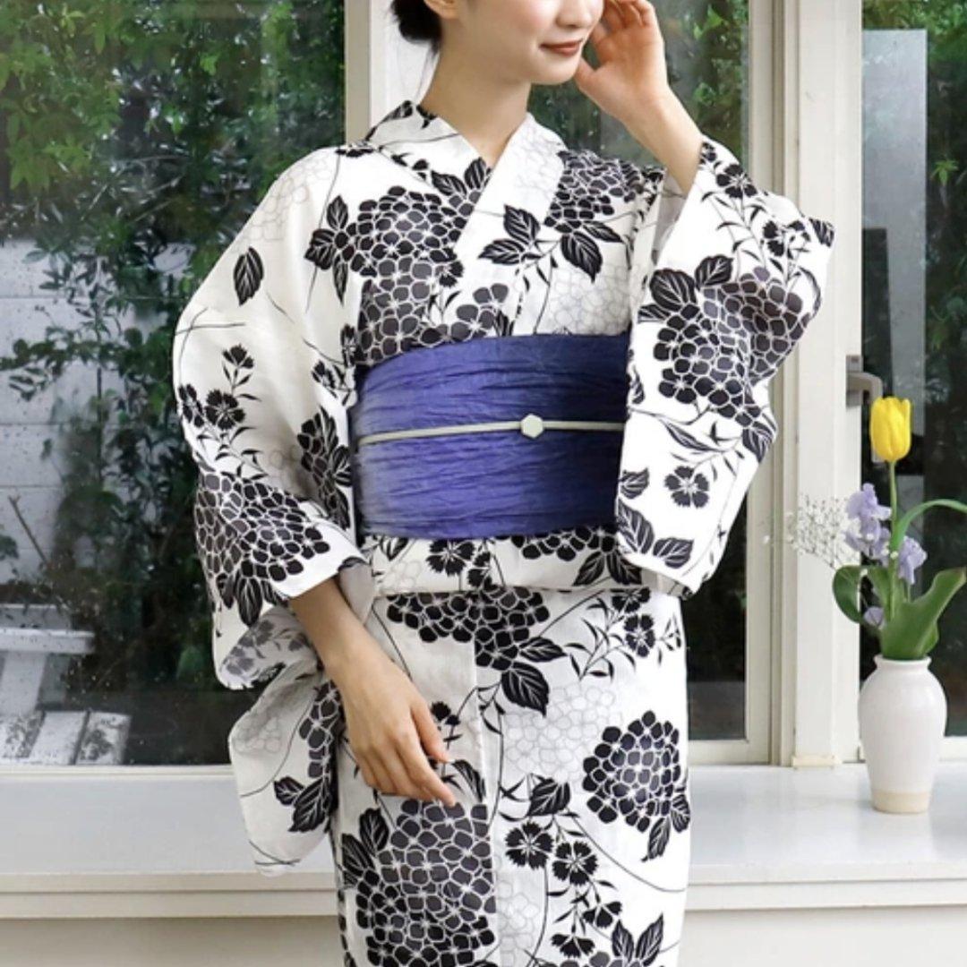 【新品】紫陽花のコットンリネン浴衣 【白×墨色】(兵児帯セット)