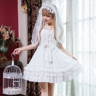 ロリータ ホワイトフリルジャンパースカート ワンピ OP 白ロリ 姫ロリ 甘ロリ リボン パール cnalb20360