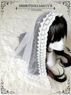 ロリータ クラシカルレースベール シースルー 花嫁 お姫様 ケミカルレース 甘ロリ 黒ロリ 透け感 ホワイト ブラック【ポスト投函対応】