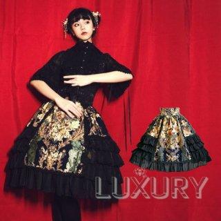 ロリータファッション Doris night  ブランド ロリィタ ヨーロッパ風 スカート ハイウエスト フリル 花柄 膝丈 ゴスロリ ロリィタ S M L XL