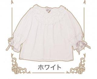 ロリータChess Story ブランド  MissCatブラウス 姫袖 5分袖 リボン フリル ティアードカラー 猫柄 ふんわり ゆったり loli0057