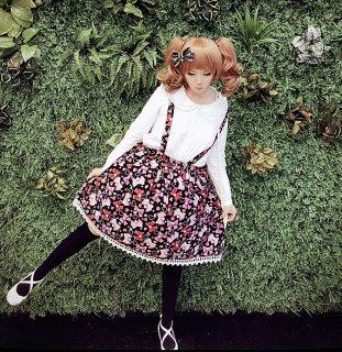 ロリータファッション ロリータ Luna Lucifer リボンとハート柄吊り紐付きスカート スカートのみ 紐取外し可 甘ロリ