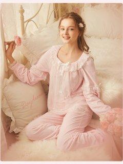 ロリータ ナイトウェア ロマンスレース冬パジャマ 上下セット 暖かい 姫 姫ロリ 甘ロリ