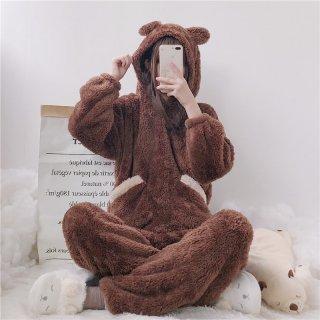 【即納有り】 ロリータファッション ナイトウェア くつろぎクマさん耳付きパジャマ 上下セット パジャマのみ 部屋着 甘ロリ あったか ロリィタ