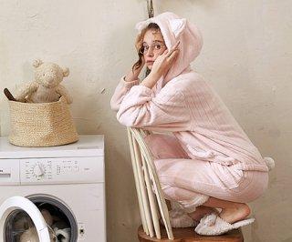 ロリータ ナイトウェア モコモコにゃんこのパジャマ 上下セット パジャマのみ あったか 甘ロリ 部屋着