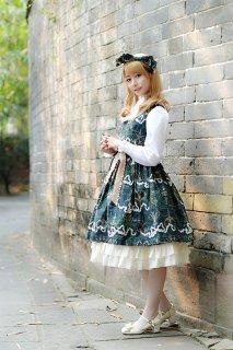 ロリータ Milu Forest Antique scissorsジャンパースカート ジャンスカのみ クラロリ リボン フリル