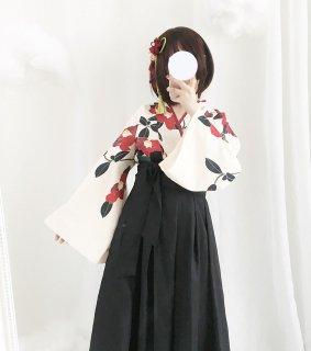 ロリータファッション 和ロリ 椿柄 女学生 袴風2ピース tops+bottoms 和風ロリィタ スカート 和柄 セット 0836