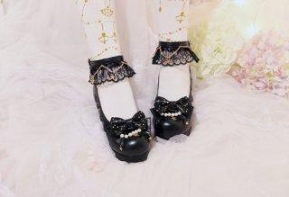 ロリータ靴 lolita ロリィタ ロリータ ストラップレースシューズ ヒール5cm レース パール リボン 甘ロリ ゴスロリ ロリータ靴