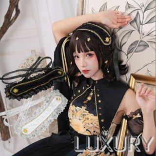現品限り ロリータファッション NyaNya 太陽と月 ヘッドドレス ヘッドドレスのみ販売 クラロリ ゴスロリ ヘアアクセサリー フリル ロリィタ 0906