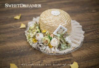 ロリータ Sweet Dreamer Vintage 花摘み少女の麦わら帽子 帽子のみ ストロー 花 フリル 甘ロリ 姫ロリ リボン