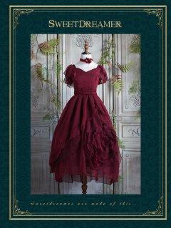 ロリータ Sweet Dreamer Vintage ローズモチーフドレス ロング丈 ドレスのみ 腰リボン付き クラロリ ゴスロリ