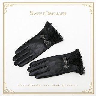 【ポスト投函対応】ロリータ Sweet Dreamer Vintage ブラック革グローブ グローブのみ 一対 ゴスロリ 黒ロリ 防寒 レザー
