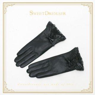 【ポスト投函対応】ロリータ Sweet Dreamer Vintage ブラック革リボングローブ グローブのみ 一対 ゴスロリ 黒ロリ 防寒 レザー