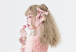【ポスト投函対応】ロリータ strawberry angel SP いちごリボン バレッタ ブローチ 両用 一個販売 アクセサリー リボン 甘ロリ