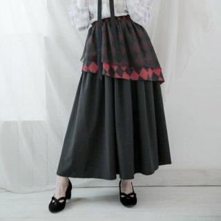 Dolly Delly ロリータファッション ゴシックロリータ lolita チェスボードチェック 変形 スカート スカートのみ ロング丈 ブラック レディース ロリータ ゴスロリ クラロリ SK