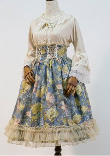 ロリータ Sweet Dreamer Vintage コルセット風スカート スカートのみ 花柄 レースアップ クラシカル クラロリ loli1294