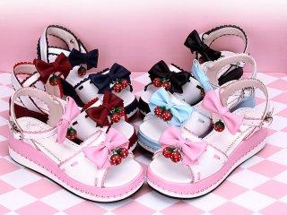 小さないちごチャームサンダル ロリータ靴 厚底 5cmヒール リボン ストラップ 甘ロリ ロリータ 姫ロリ 春夏 loli1406