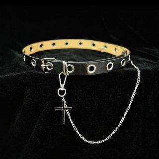 ゴスロリ 十字架チェーン付きベルト パンク ロック カジュアル クロスモチーフ 小物 ベルト 細い ハード loli1432