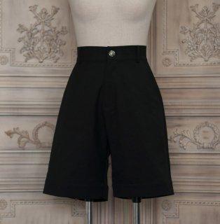 ロリータファッション NyaNya 王子ボトムス パンツ 膝丈 ショート丈 ブラック 少年 男装 シンプル クラロリ クラシカル loli1488