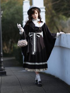 ロリータ NyaNya ブランド ロリータファッション 和風 振袖羽織風 上着 和風ロリィタ 和ロリ 重ね着 着物風 和服風 和風ロリータ  loli1498