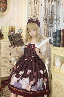 ロリータ Honeyhoney ねこの図書館 ジャンパースカート ジャンスカのみ JSK 甘ロリ ストライプ リボン ワンピース loli1533