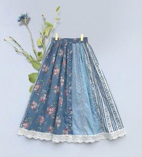 ロリータ Sweet Dreamer Vintage パッチワーク風 スカート ブルー 受注生産 ボトムス 森ガール 甘ロリ クラロリ loli1617