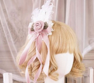 ロリータ 貴婦人の羽ヘアクリップ ヘッドドレス ヘアアクセサリー ピンク レース リボン 姫ロリ ロリータ小物 loli1724