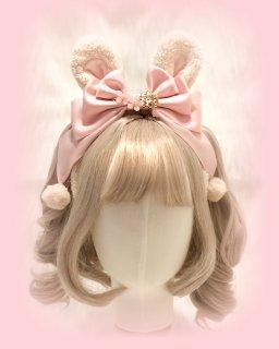 ロリータ モコモコうさ耳 カチューシャ リボン ウサギ ふわふわ 甘ロリ メイド  かわいい パール ヘッドドレス ロリータファッション loli1734