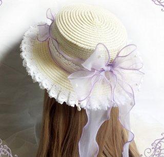 ロリータ ラベンダーカラー カンカン帽子 帽子 麦わら帽子 春夏 リボン 甘ロリ ピクニック お茶会 loli1749