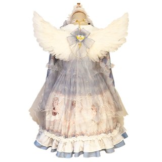 ロリータ 天使の翼+リボンベール ケープ ベール部分取り外し可能 エンジェル 透け感 ゴスロリ 甘ロリ 姫ロリ loli1777