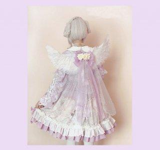 ロリータ 天使の翼+リボンベール ケープ パープル ベール部分取り外し可能 エンジェル 透け感 ゴスロリ 甘ロリ 姫ロリ loli1799