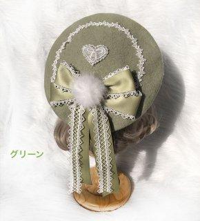 ロリータ ベレー帽 ひらひらリボン 帽子 混紡羊毛 秋冬 リボン ポンポン クラシカル クラロリ 甘ロリ お嬢様 loli1813