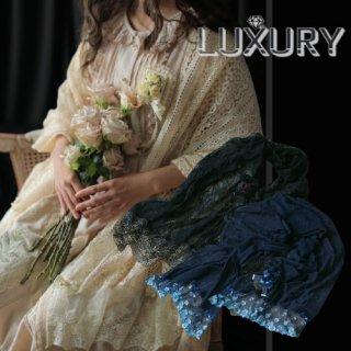 ロリータファッション sweet dreamer 薔薇レース上品ショール ブルー ブラック ブルー リボン スカーフ クラシカル 上品 パール ゴールド レーシー シースルー loli067008
