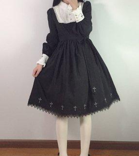 ロリータファッション 修道女スタイル 長袖 ワンピース クロス 黒ロリ ゴスロリ フリル ティアード