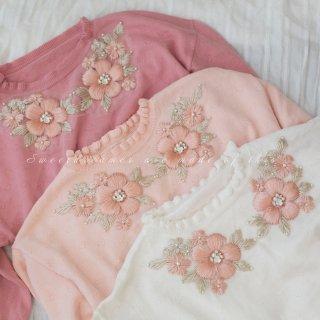 ロリータ Sweet Dreamer Vintage 花刺繍 セーター マトン袖 クラロリ フリル クラシカル 甘ロリ お嬢様 loli1950